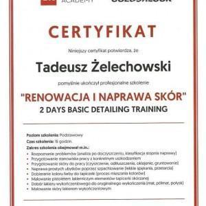 Certyfikat Detailing Academy dla Tadeusza Żelechowskiego