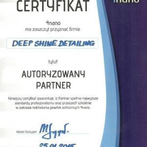 Certyfikat 4nano dla Deep Shine Detailing