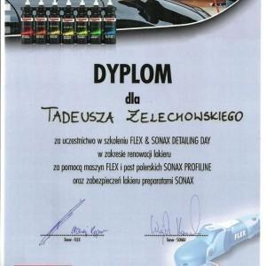 Dyplom Flex & Sonax dla Tadeusza Żelechowskiego