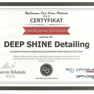 Certyfikat Optimum Car Care Poland dla Deep Shine Detailing