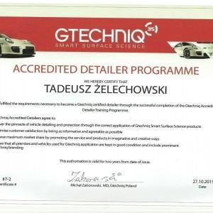 Certyfikat GTECHNIQ dla Tadeusza Żelechowskiego 1