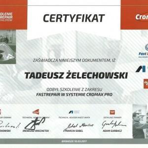 Certyfikat Cromax dla Tadeusza Żelechowskiego