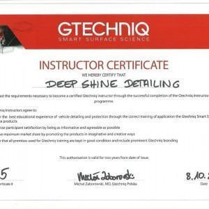 Certyfikat GTECHNIQ dla Deep Shine Detailing