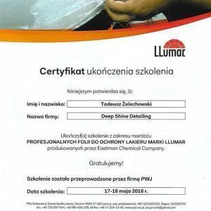 Certyfikat LLumar dla Tadeusza Żelechowskiego