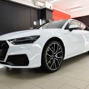 oklejone białą folią ochronną Audi S7 Deep Shine Detailing